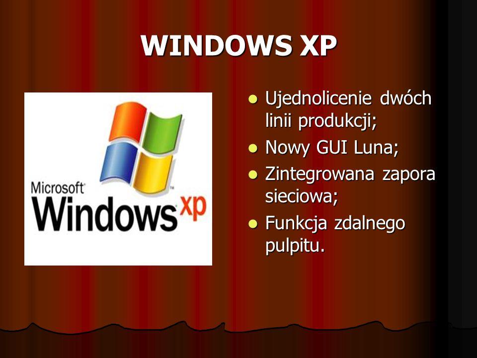 WINDOWS XP Ujednolicenie dwóch linii produkcji; Nowy GUI Luna;