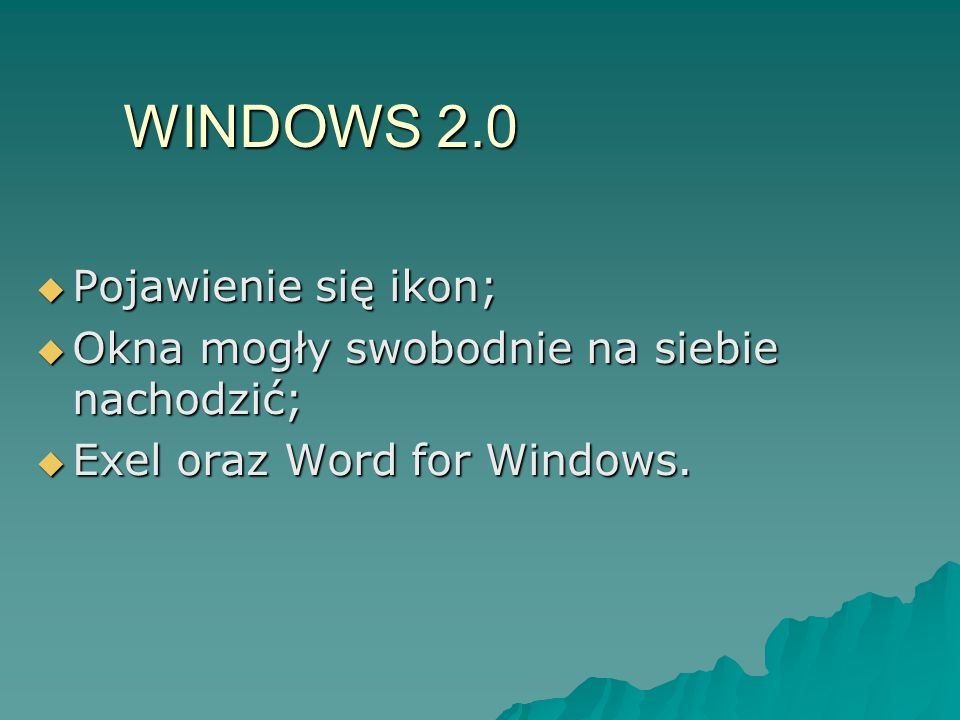 WINDOWS 2.0 Pojawienie się ikon;