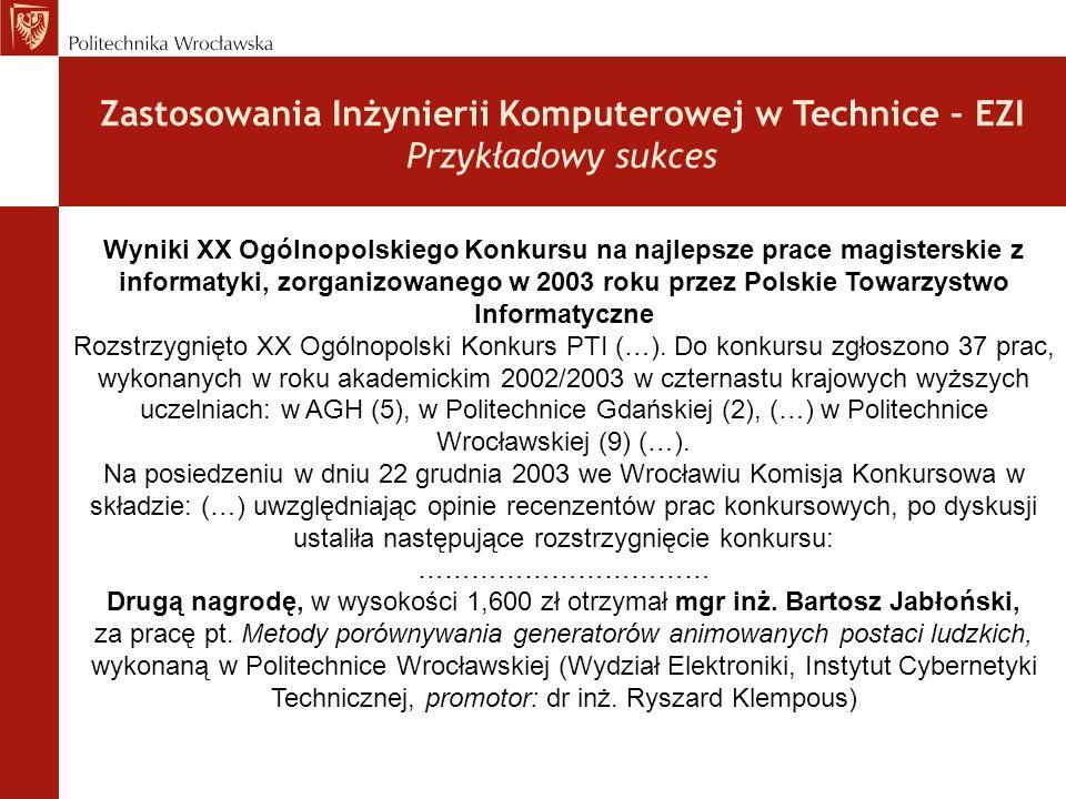 Zastosowania Inżynierii Komputerowej w Technice – EZI Przykładowy sukces