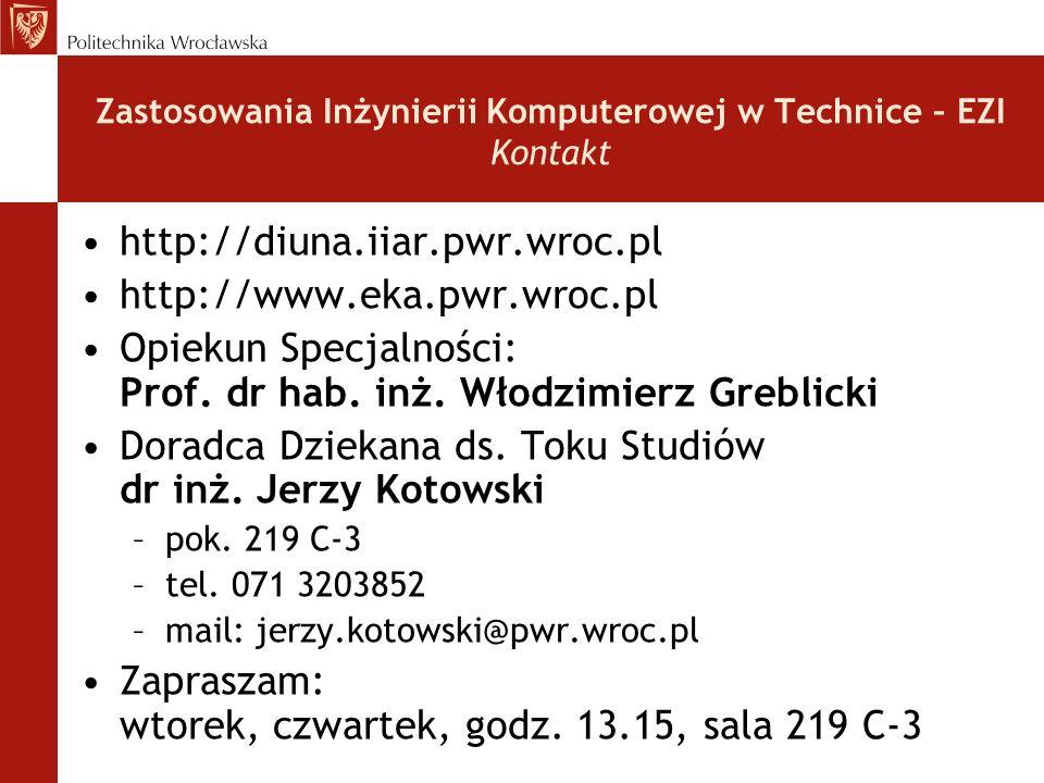 Zastosowania Inżynierii Komputerowej w Technice – EZI Kontakt