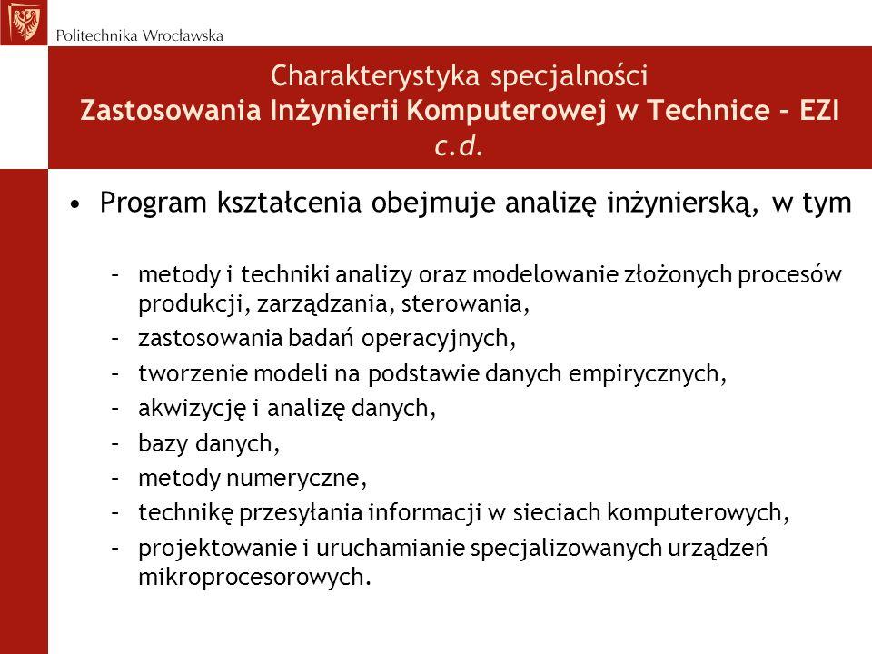 Program kształcenia obejmuje analizę inżynierską, w tym