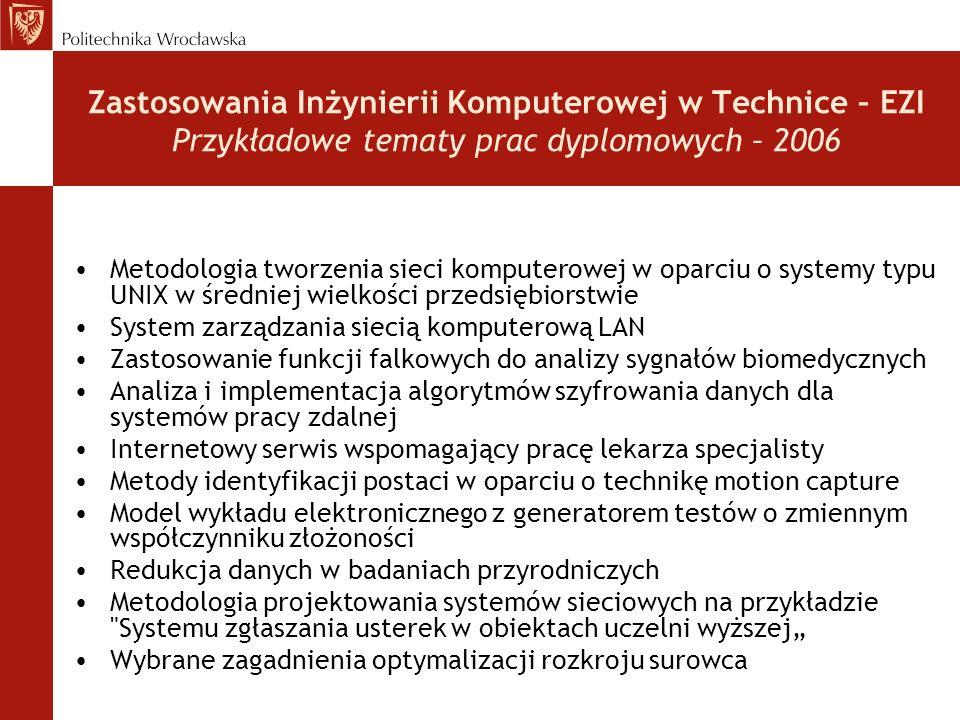 Zastosowania Inżynierii Komputerowej w Technice – EZI Przykładowe tematy prac dyplomowych – 2006