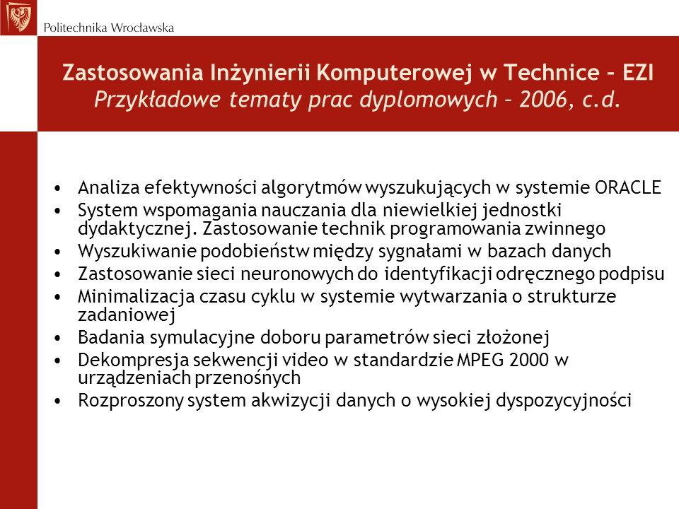 Zastosowania Inżynierii Komputerowej w Technice – EZI Przykładowe tematy prac dyplomowych – 2006, c.d.