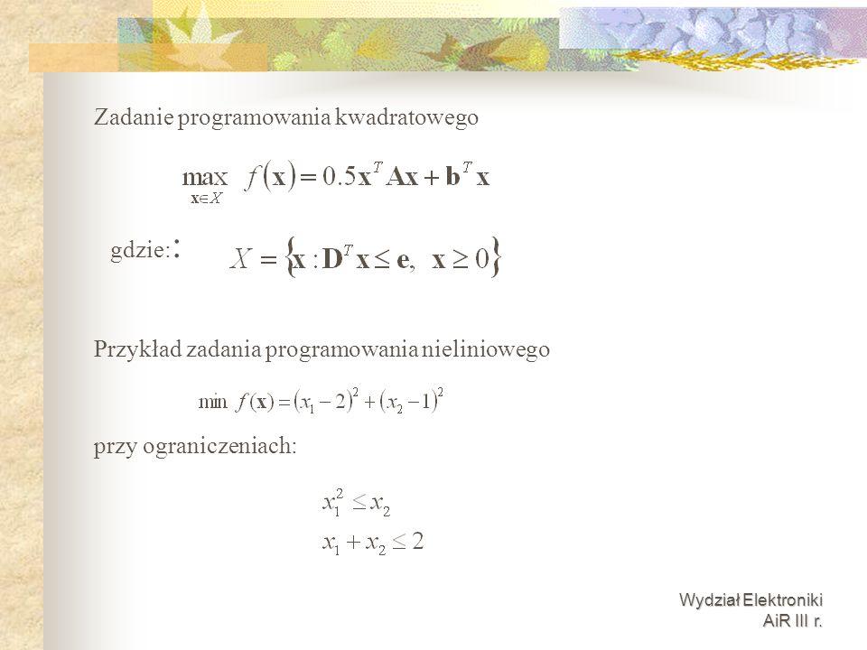 Zadanie programowania kwadratowego