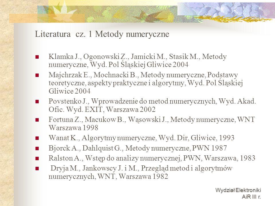 Literatura cz. 1 Metody numeryczne