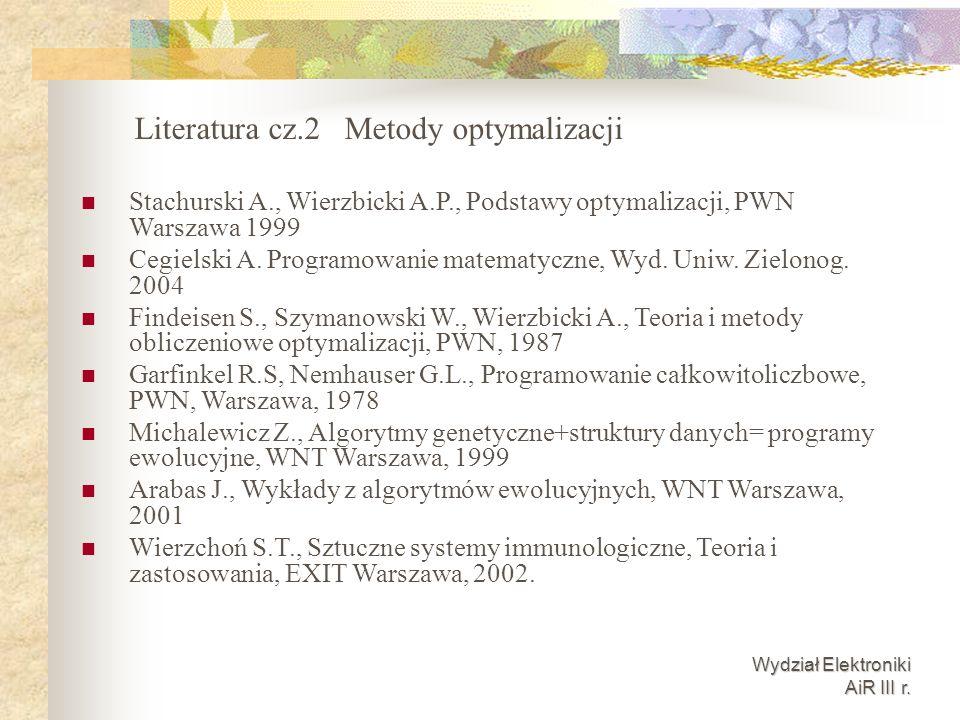 Literatura cz.2 Metody optymalizacji