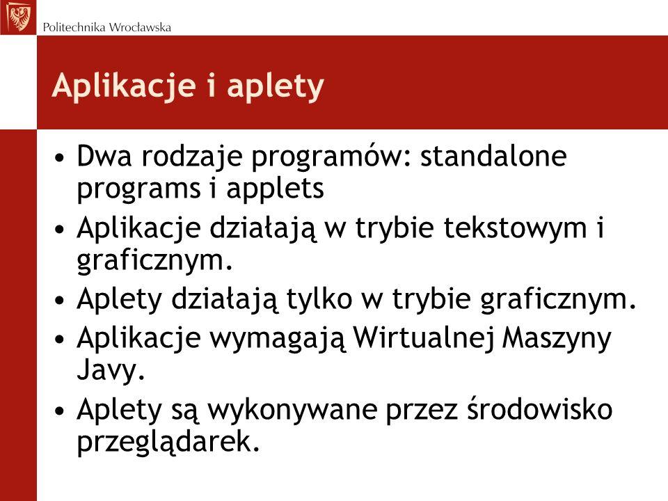 Aplikacje i apletyDwa rodzaje programów: standalone programs i applets. Aplikacje działają w trybie tekstowym i graficznym.