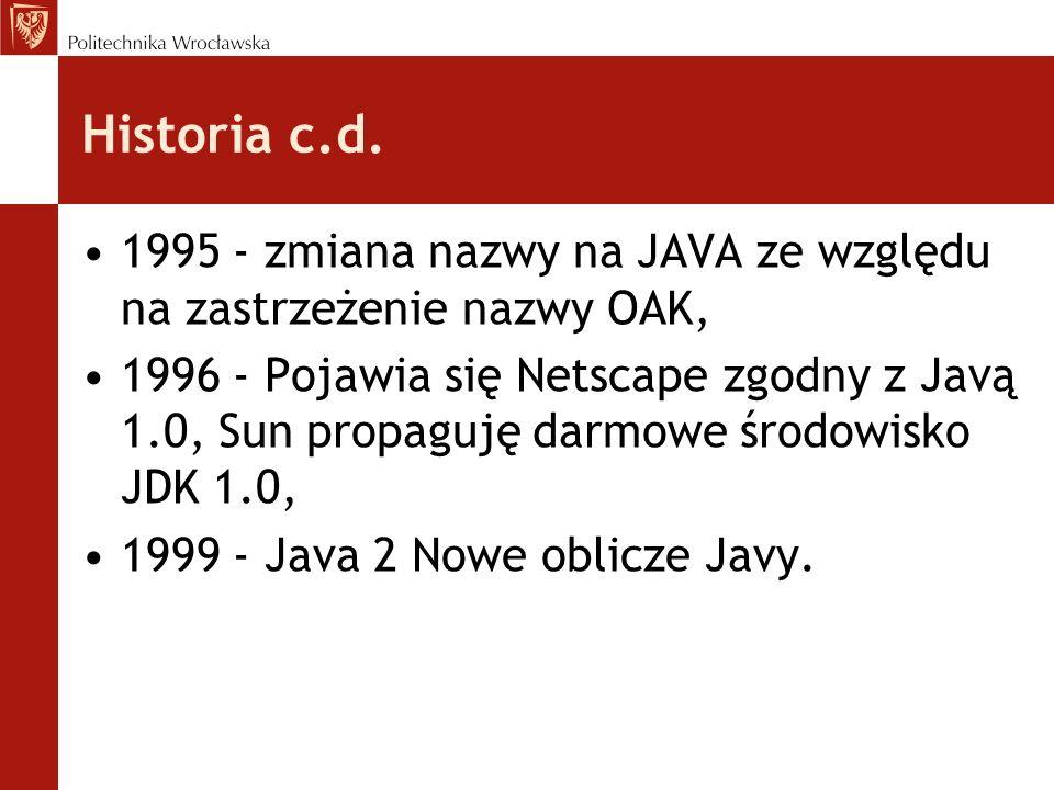 Historia c.d.1995 - zmiana nazwy na JAVA ze względu na zastrzeżenie nazwy OAK,