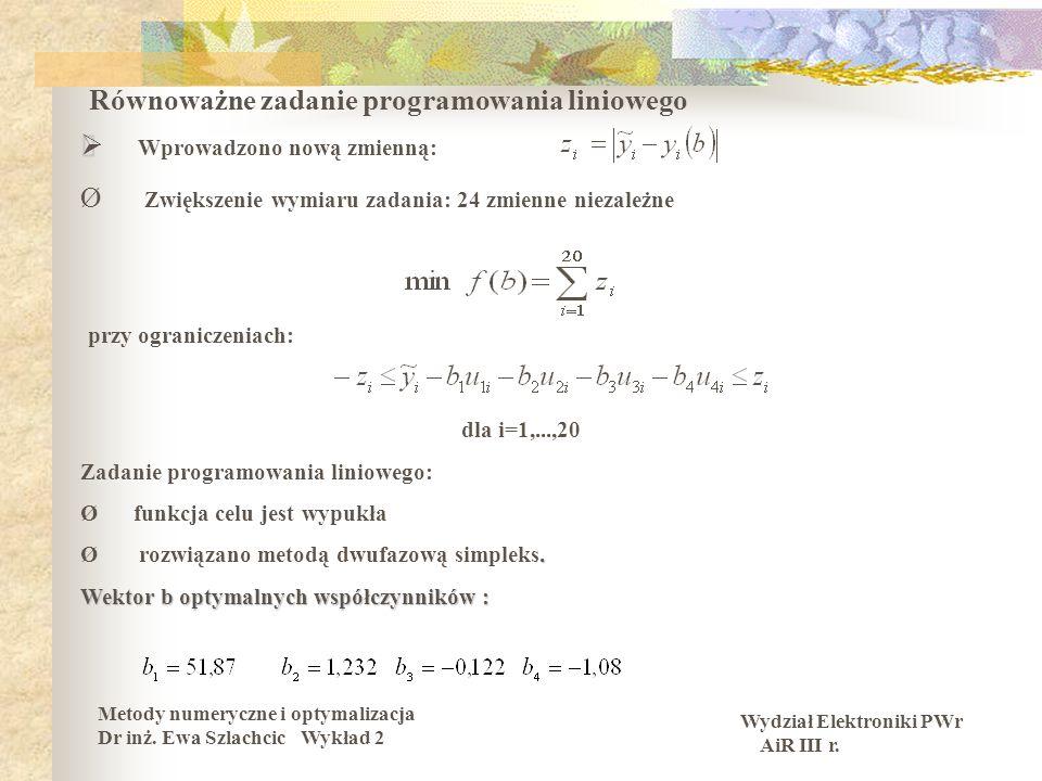 Równoważne zadanie programowania liniowego