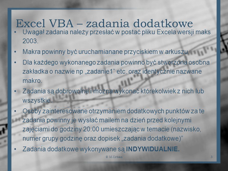 Excel VBA – zadania dodatkowe