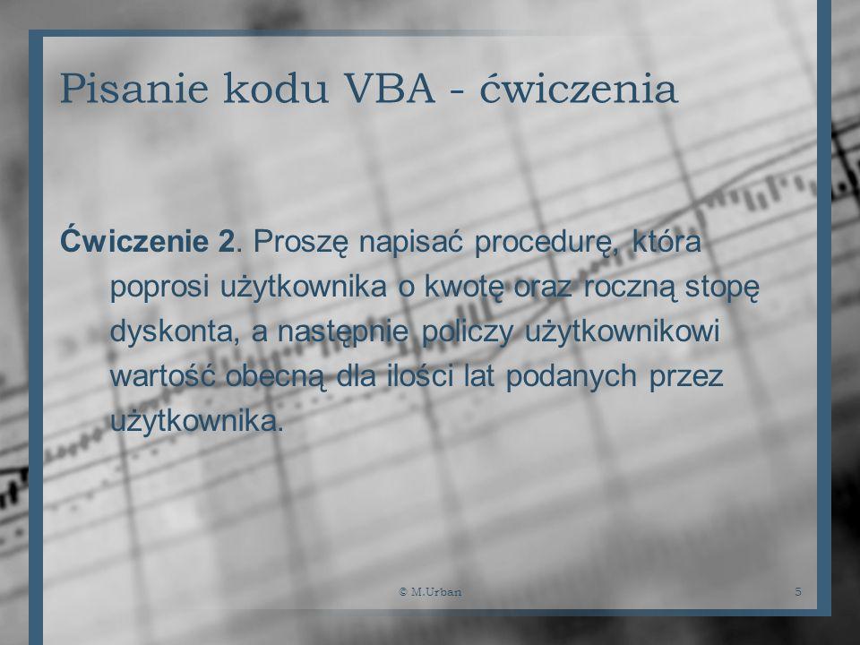 Pisanie kodu VBA - ćwiczenia