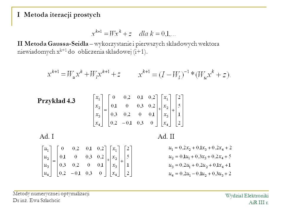 I Metoda iteracji prostych