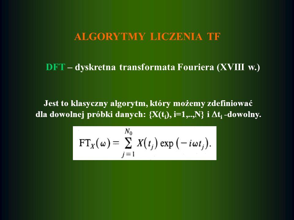 ALGORYTMY LICZENIA TF DFT – dyskretna transformata Fouriera (XVIII w.)