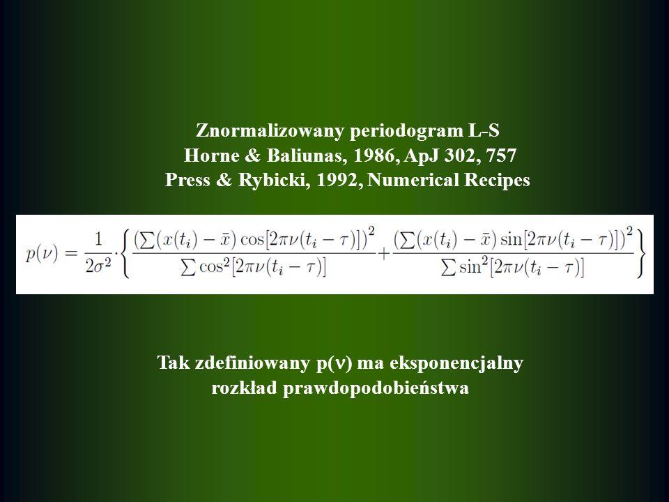 Znormalizowany periodogram L-S Horne & Baliunas, 1986, ApJ 302, 757