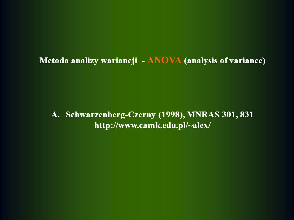 Metoda analizy wariancji - ANOVA (analysis of variance)