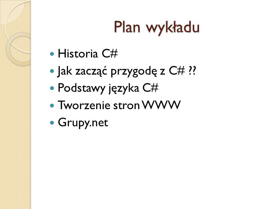 Plan wykładu Historia C# Jak zacząć przygodę z C#