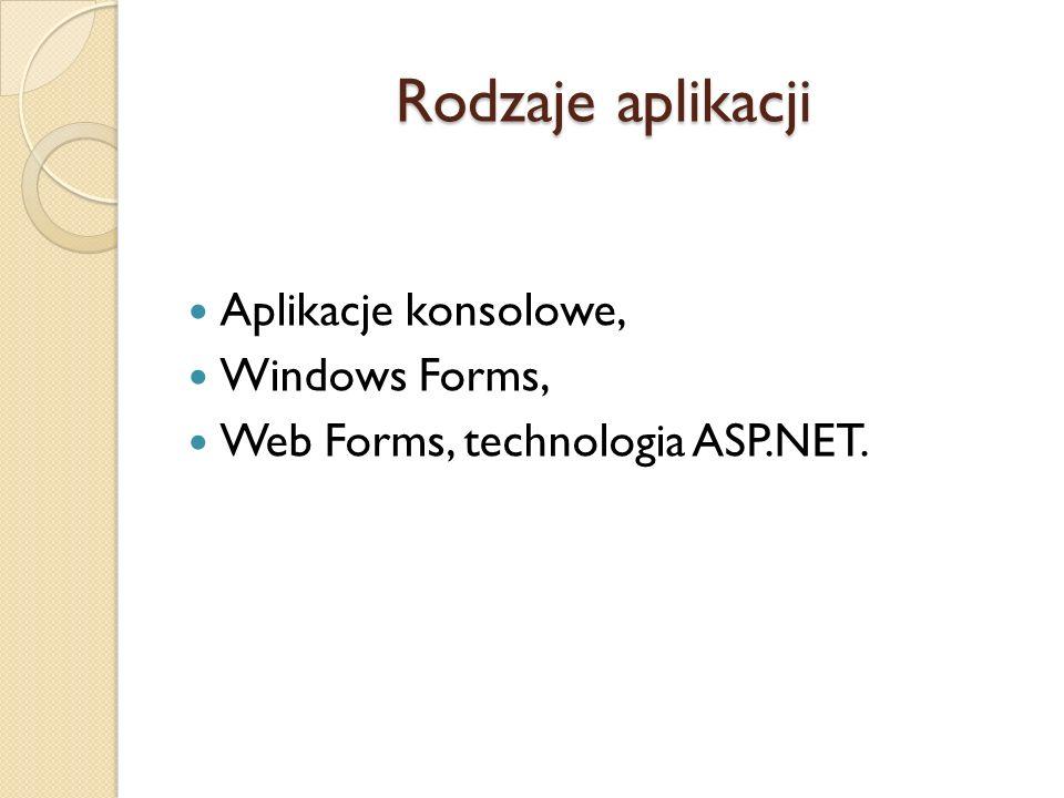 Rodzaje aplikacji Aplikacje konsolowe, Windows Forms,