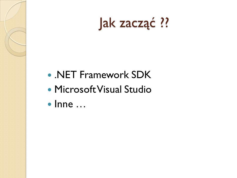 Jak zacząć .NET Framework SDK Microsoft Visual Studio Inne …