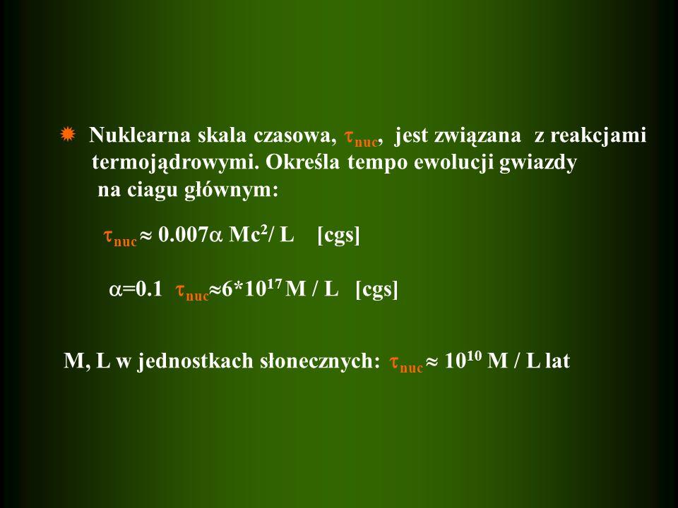  Nuklearna skala czasowa, nuc, jest związana z reakcjami