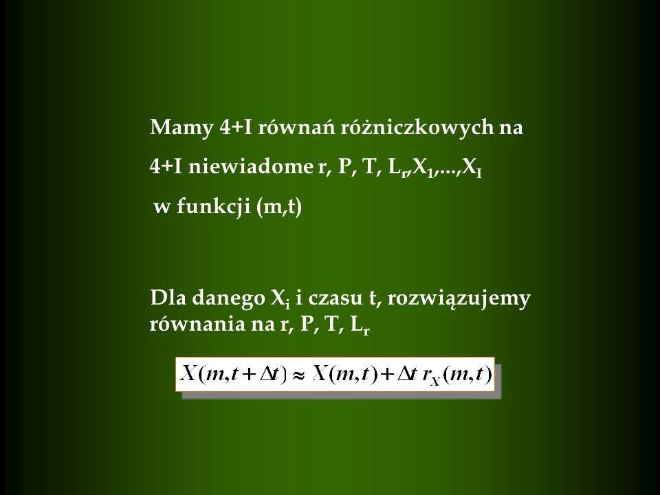 Mamy 4+I równań różniczkowych na