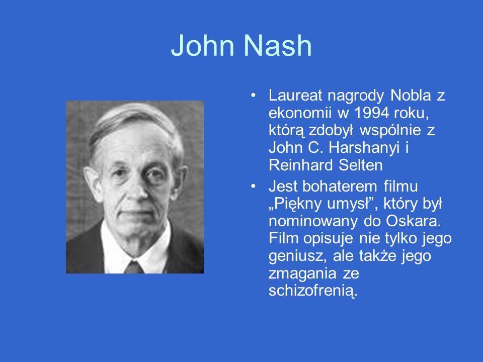 John Nash Laureat nagrody Nobla z ekonomii w 1994 roku, którą zdobył wspólnie z John C. Harshanyi i Reinhard Selten.