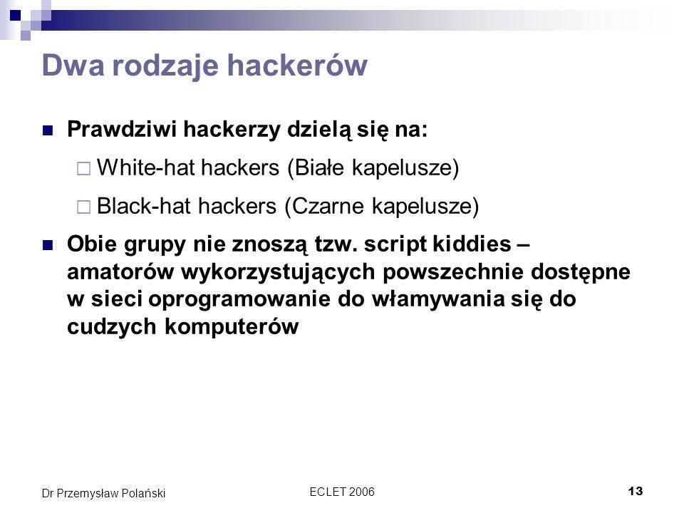 Dwa rodzaje hackerów Prawdziwi hackerzy dzielą się na:
