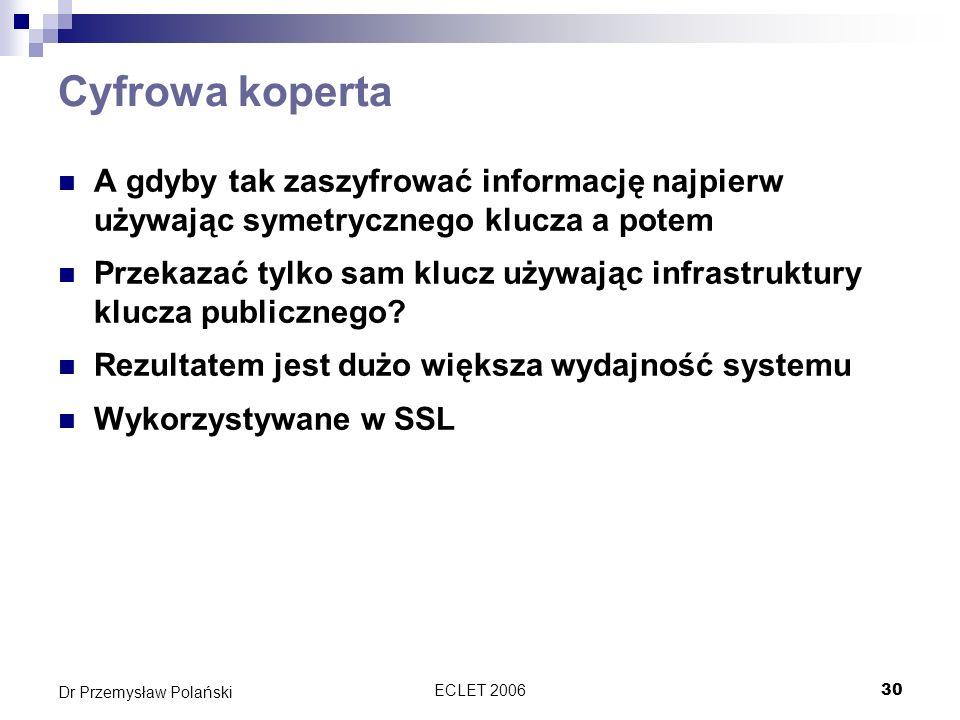 Cyfrowa kopertaA gdyby tak zaszyfrować informację najpierw używając symetrycznego klucza a potem.