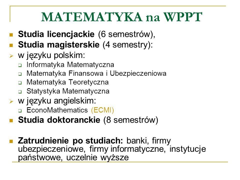 MATEMATYKA na WPPT Studia licencjackie (6 semestrów),