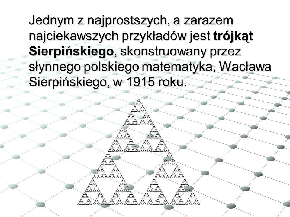 Jednym z najprostszych, a zarazem najciekawszych przykładów jest trójkąt Sierpińskiego, skonstruowany przez słynnego polskiego matematyka, Wacława Sierpińskiego, w 1915 roku.