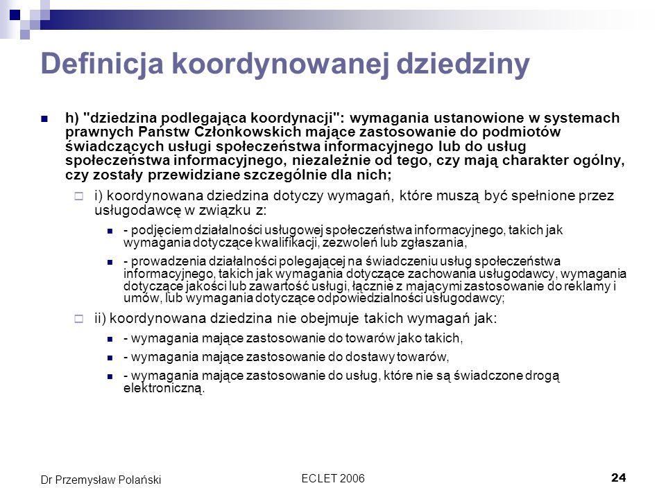Definicja koordynowanej dziedziny