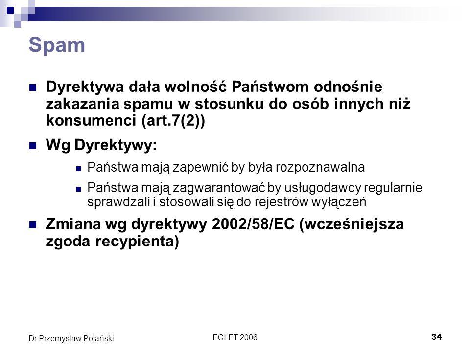 Spam Dyrektywa dała wolność Państwom odnośnie zakazania spamu w stosunku do osób innych niż konsumenci (art.7(2))