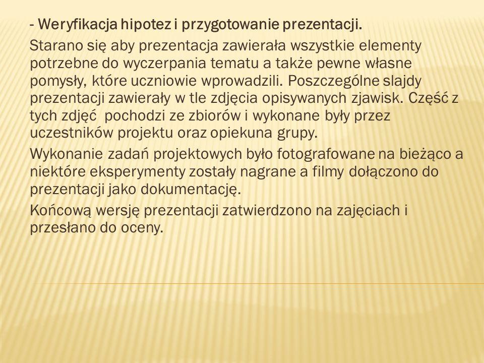 - Weryfikacja hipotez i przygotowanie prezentacji.