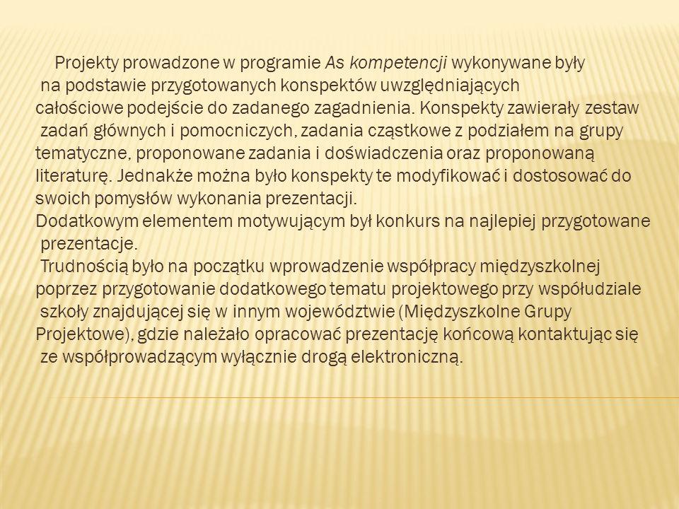 Projekty prowadzone w programie As kompetencji wykonywane były