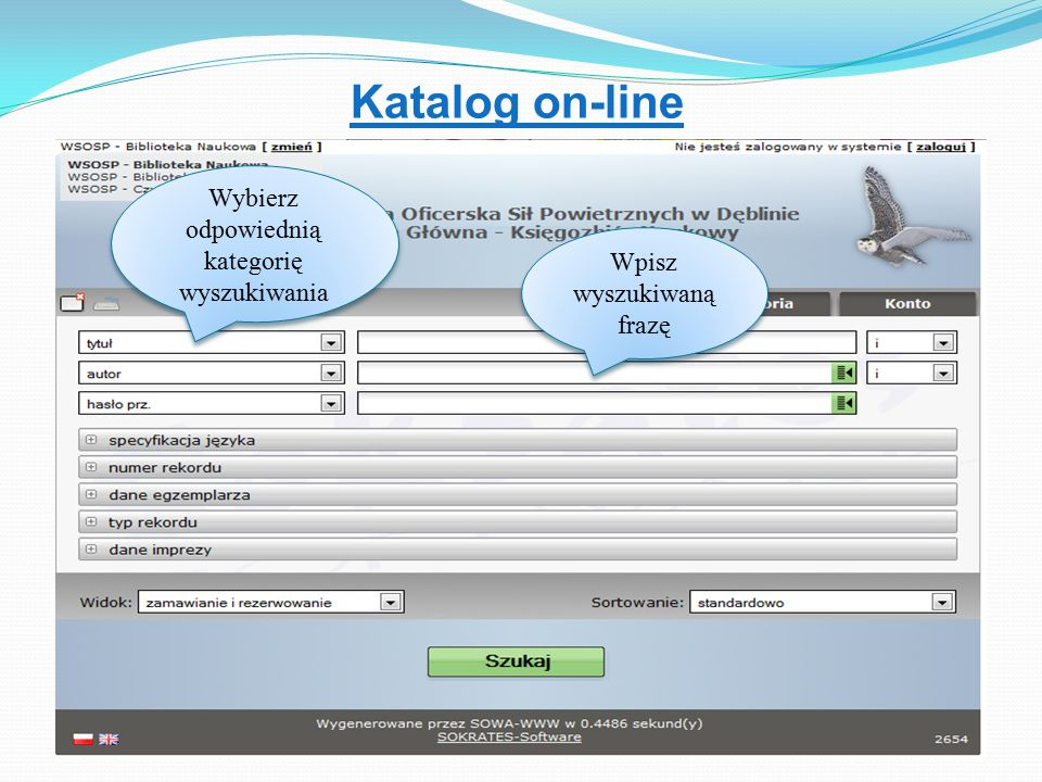 Katalog on-line Wybierz odpowiednią kategorię wyszukiwania