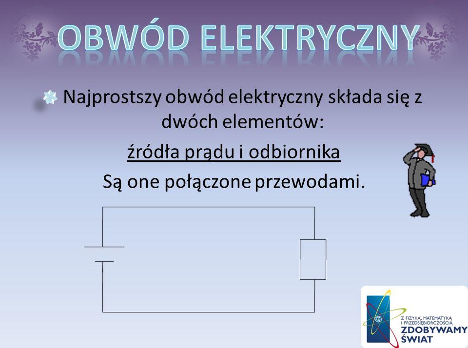 Obwód elektryczny Najprostszy obwód elektryczny składa się z dwóch elementów: źródła prądu i odbiornika.
