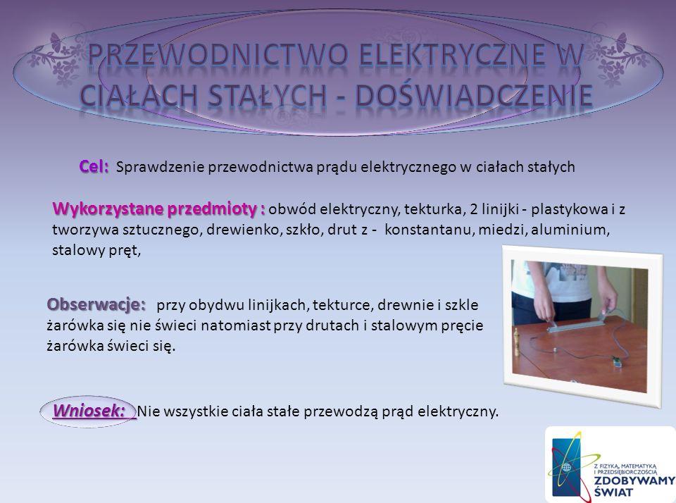 Przewodnictwo elektryczne w ciałach stałych - doświadczenie