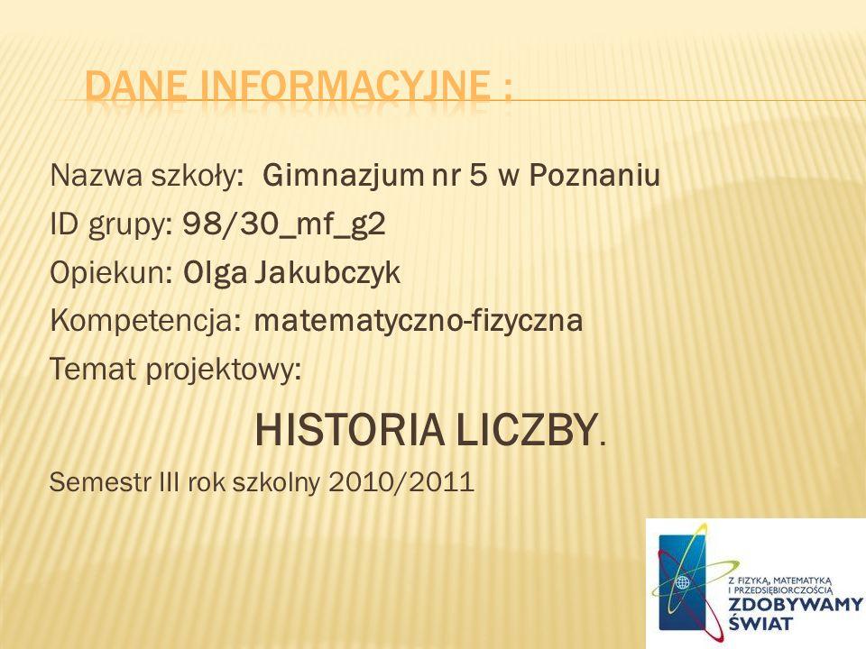 HISTORIA LICZBY. Dane INFORMACYJNE :
