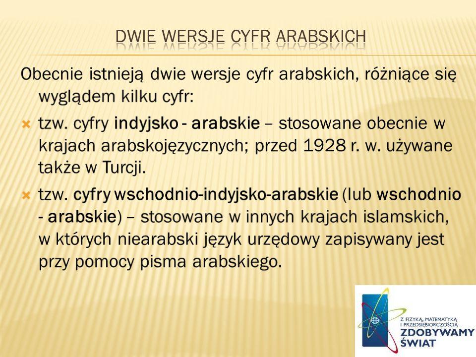 dwie wersje cyfr arabskich