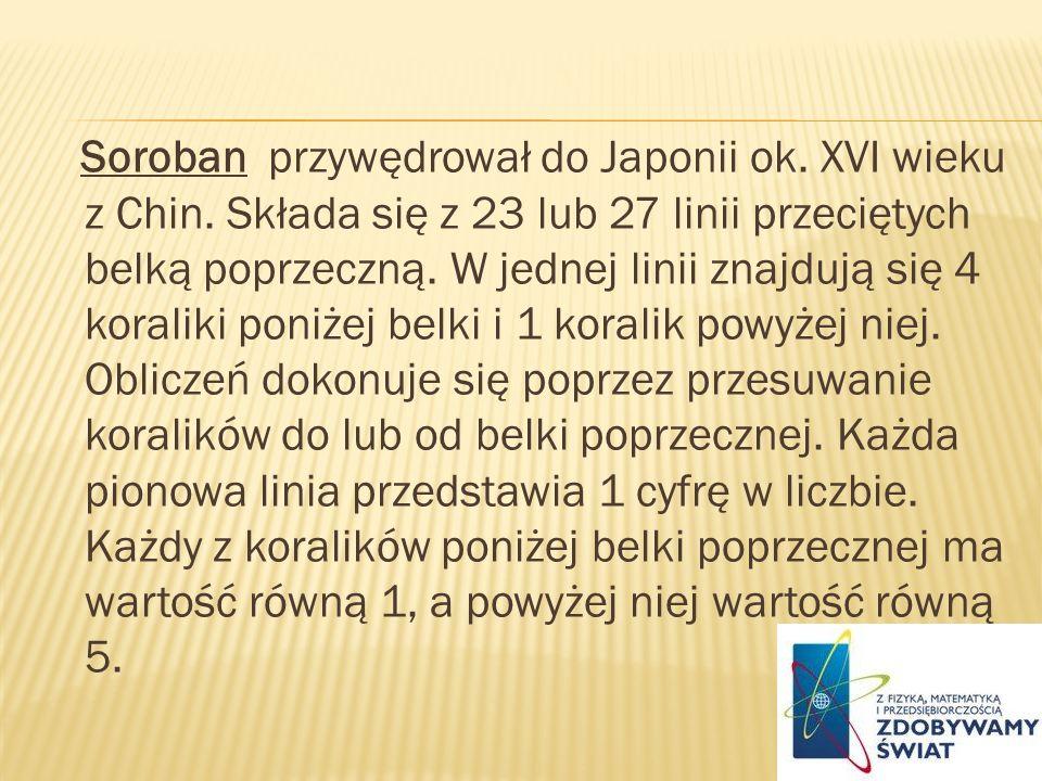 Soroban przywędrował do Japonii ok. XVI wieku z Chin