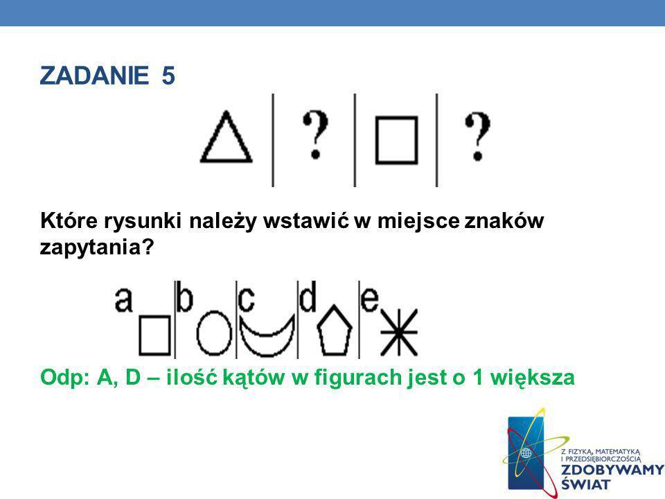 Zadanie 5 Które rysunki należy wstawić w miejsce znaków zapytania.