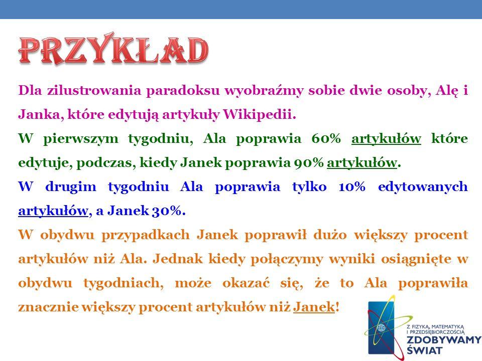 PRZYKŁAD Dla zilustrowania paradoksu wyobraźmy sobie dwie osoby, Alę i Janka, które edytują artykuły Wikipedii.