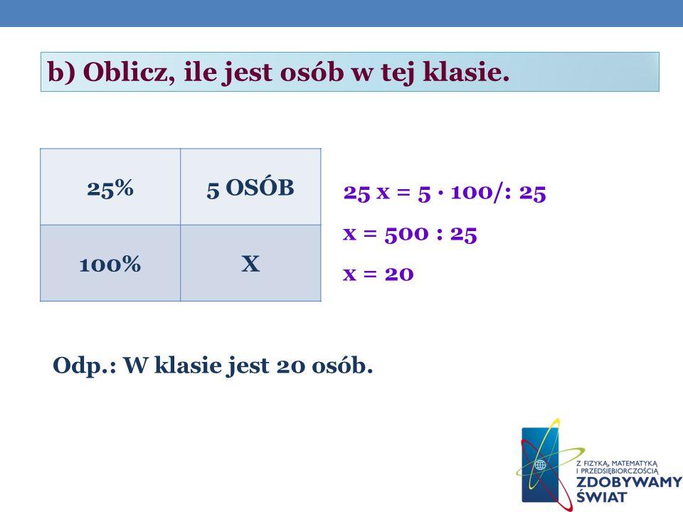 b) Oblicz, ile jest osób w tej klasie.