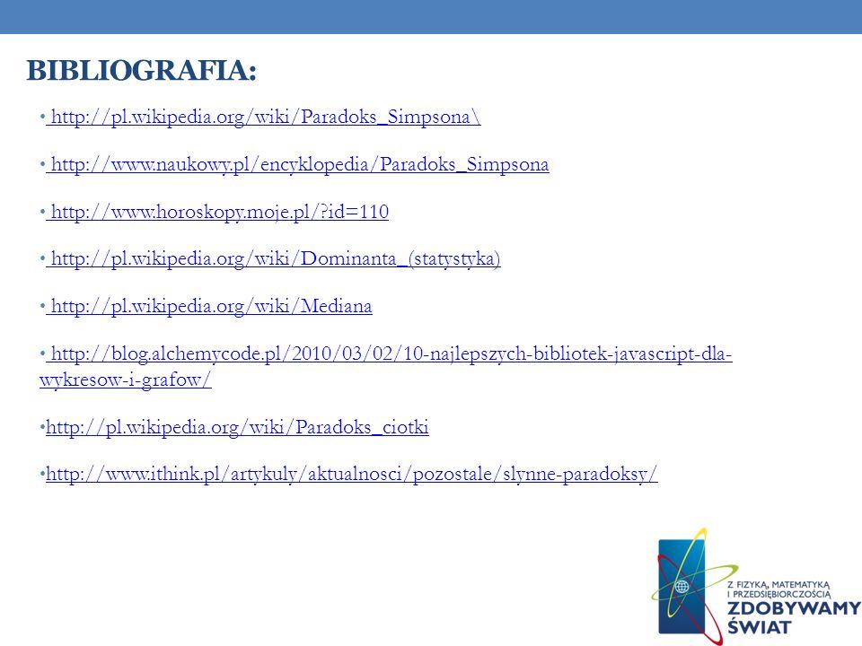 Bibliografia: http://pl.wikipedia.org/wiki/Paradoks_Simpsona\