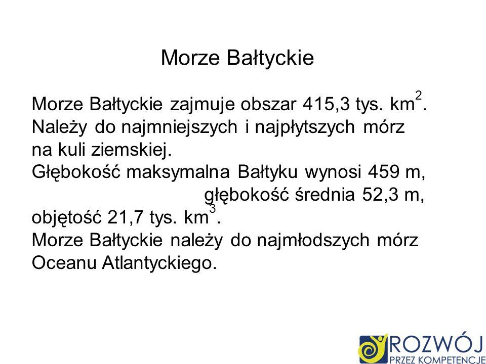 Morze Bałtyckie Morze Bałtyckie zajmuje obszar 415,3 tys. km2. Należy do najmniejszych i najpłytszych mórz na kuli ziemskiej.