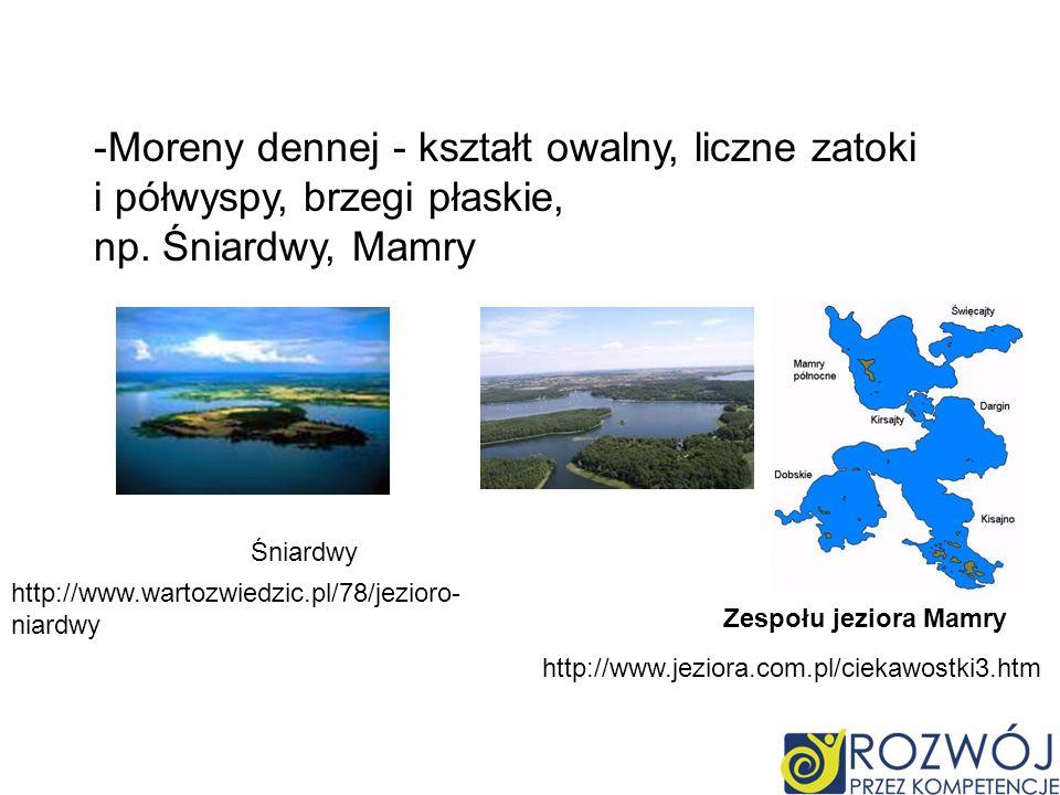 Moreny dennej - kształt owalny, liczne zatoki i półwyspy, brzegi płaskie,