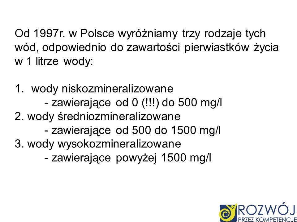 Od 1997r. w Polsce wyróżniamy trzy rodzaje tych wód, odpowiednio do zawartości pierwiastków życia
