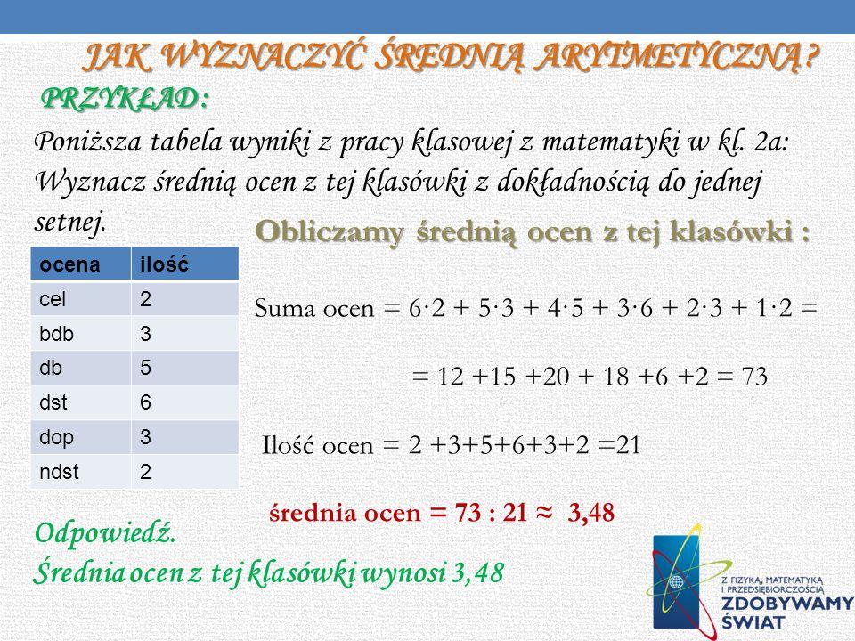 Jak wyznaczyć średnią arytmetyczną Przykład :