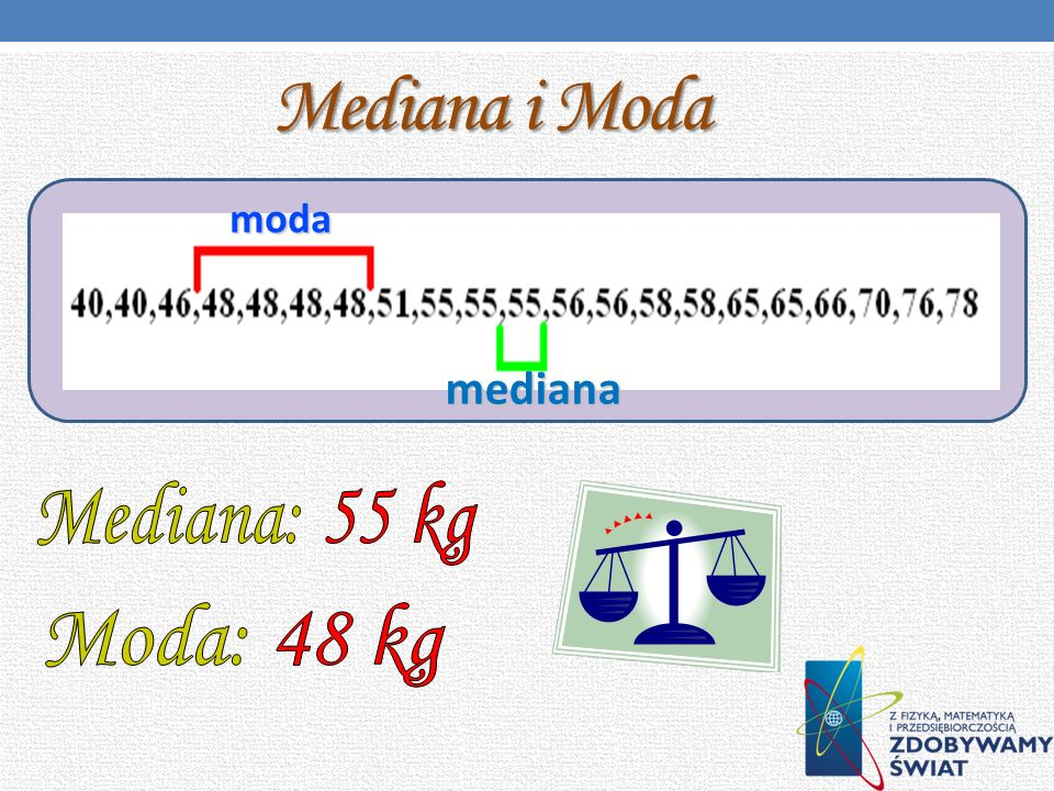 Mediana i Moda moda mediana Mediana: 55 kg Moda: 48 kg
