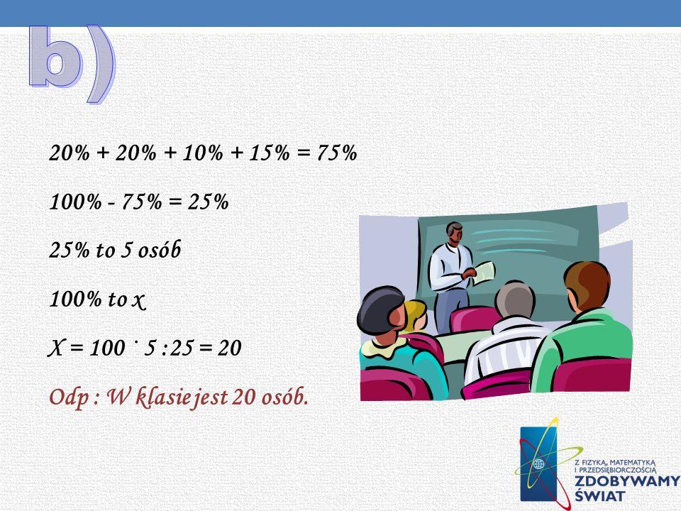 b) 20% + 20% + 10% + 15% = 75% 100% - 75% = 25% 25% to 5 osób