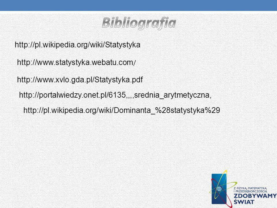 Bibliografia http://pl.wikipedia.org/wiki/Statystyka